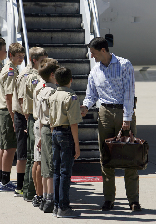 Francisco Kjolseth  |  The Salt Lake Tribune Republican vice presidential nominee Paul Ryan meets with Provo Boy Scout Troop 720 after arriving at the Provo Municipal Airport on Wednesday, Sept. 5, 2012, for a round of fundraising events.