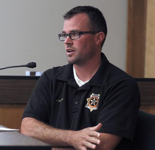 Al Hartmann  |  The Salt Lake Tribune Juab County Deputy Andrew Davidson testifies during Eric Charlton preliminary hearing in Judge James Brady's Fourth District Court in Nephi Wednesday September 19.