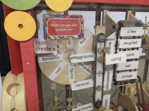 Sean P. Means     The Salt Lake Tribune A contraption lets kids create crazy sentences, as part of the