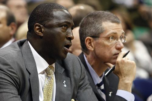 Chris Detrick  |  The Salt Lake Tribune Utah Jazz head coach Tyrone Corbin and Scott Layden talk during the second quarter of the game at EnergySolutions Arena Thursday April 26, 2012. .