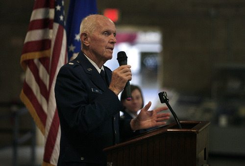 Scott Sommerdorf  |  The Salt Lake Tribune              Retired Air Force Lt. Col. Jay Hess speaks Friday about the 5 1/2 years he spent in the notorious