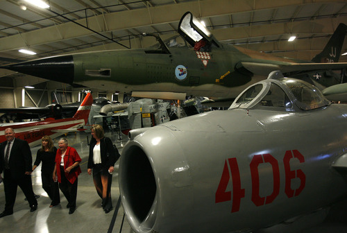 Scott Sommerdorf  |  The Salt Lake Tribune              Visitors look Friday at the aircraft of the era on display at the grand opening of the Vietnam War exhibit at Hill Aerospace Museum at Hill Air Force Base.