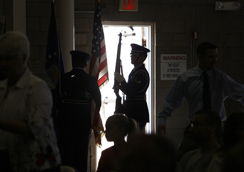 Scott Sommerdorf  |  The Salt Lake Tribune              The Air Force color guard practices prior to the grand opening of the Vietnam War exhibit at Hill Aerospace Museum at Hill Air Force Base. Guest speaker retired Lt. Col. Jay Hess spent over five years in the notorious
