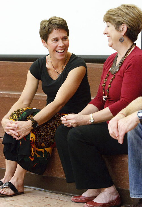 Leah Hogsten     The Salt Lake Tribune Jan Wunderli (left) is spearheading the Friend to Friend project with Cottonwood Elementary Principal Karen Chatterton (right). Students and teachers at Cottonwood Elementary were treated to dancers and musicians showcasing the culture of Africa as part of the school's Friend to Friend service project for children in the Samburu District of the Rift Valley Province, Kenya, Friday, September 21, 2012. . The goal of the project is for Cottonwood students to make personal connections with the children in Africa.