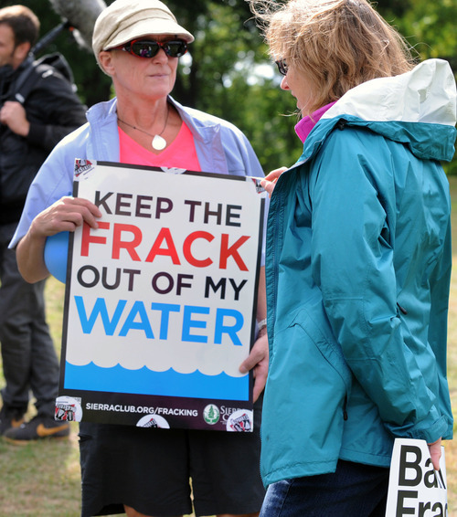 Local groups from Pittsburgh participated in a global Frackdown Day calling for a moratorium on Shale Gas Drilling by taking part in a Frackdown Smackdown tug-of-war between college students representing  he