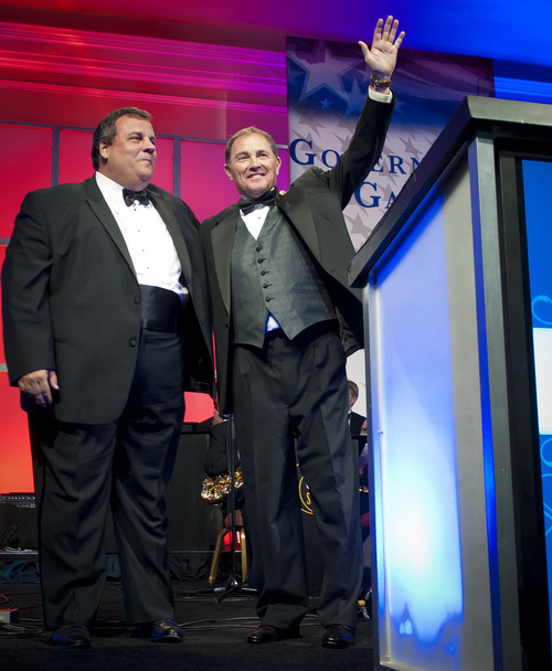 Michael Mangum  |  Special to the Tribune  Gov. Gary Herbert, right, introduces keynote speaker New Jersey Gov. Chris Christie at the 2012 Governor's Gala at the Grand America hotel in Salt Lake on Saturday, September 22, 2012.