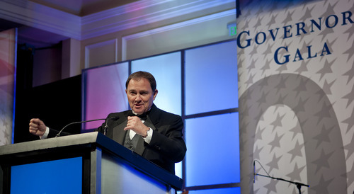Michael Mangum  |  Special to the Tribune  Utah Governor Gary Herbert makes an introduction for New Jersey Gov. Chris Christie at the 2012 Governor's Gala at the Grand America hotel in Salt Lake on Saturday, September 22, 2012.