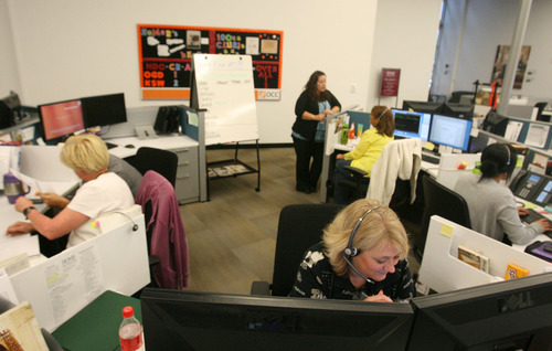 Leah Hogsten  |  The Salt Lake Tribune Home Depot Call Center employees at the company's Home Decorators Collection call center. Home Depot Call Center located at Business Depot Ogden has opened a customer service call center that employs more than 300 people, with hundreds more in training, Wednesday, September 19, 2012. The city of Ogden has had the highest unemployment rate among cities in Utah with populations of more than 25,000, but te city has had real success in luring new employers