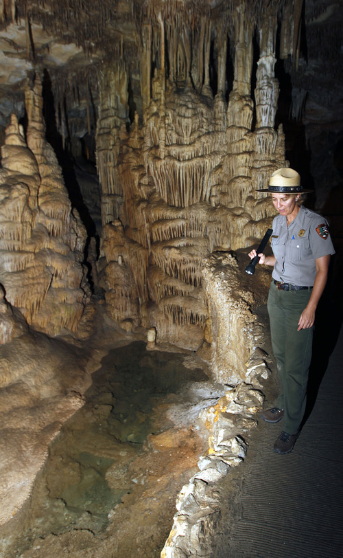 Al Hartmann  |  The Salt Lake Tribune Gretchen Baker, ecologist for Great Basin National Park, says the drought in western Utah and eastern Nevada is having its effect even inside the cool dank Lehman Caves. The pools known as the King's and Queen's bathtubs are dry. Western Utah has experienced the driest 12 months or record.