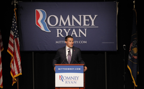 Spencer Zwick, national finance chairman for Republican presidential candidate and former Massachusetts Gov. Mitt Romney, speaks at a campaign fundraising event at The Grand America in Salt Lake City on Tuesday, Sept. 18, 2012.  (AP Photo/Charles Dharapak)