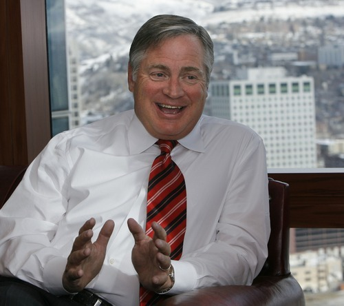 John R. Miller, CEO of a meat packing company, in his Salt Lake office.  He is on Mitt Romney's national finance team.    Rick Egan/The Salt Lake Tribune  2/02/2007