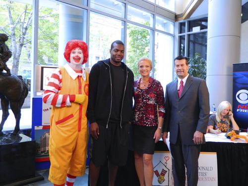Courtesy photo Paul Millsap was interviewed live on KUTV as part of a televised fundraiser for Ronald McDonald House Charities.