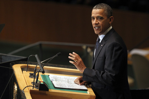 President Barack Obama addresses the 67th session of the United Nations General Assembly at U.N. headquarters, Tuesday, Sept. 25, 2012.  (AP Photo/Mary Altaffer)