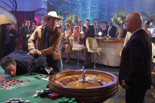 This image released by CBS shows Dennis Quaid, left, and Michael Chiklis in a scene from the new CBS series,