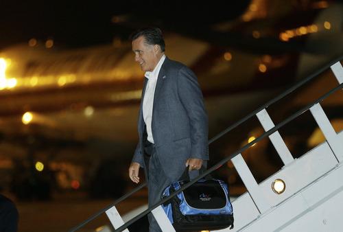 Republican presidential candidate and former Massachusetts Gov. Mitt Romney arrives in Newark, N.J., Monday, Sept. 24, 2012. (AP Photo/Charles Dharapak)