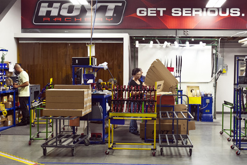 Chris Detrick  |  The Salt Lake Tribune Employees work at Hoyt Archery in Salt Lake City Wednesday September 12, 2012.