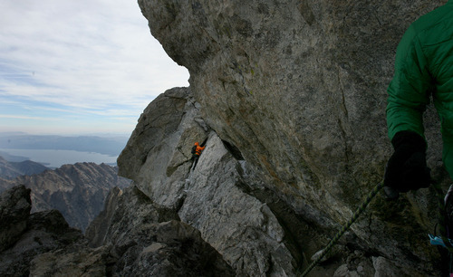 Leah Hogsten  |  The Salt Lake Tribune The September 11, 2012 ascent is grueling and technical, led by veteran Exum Guides to the 13,770-foot Grand Teton peak. Sponsor Paradox Sports' Timmy O'Neill believes veterans who sign on for climbs such as the one in the Tetons have a chance to grow.