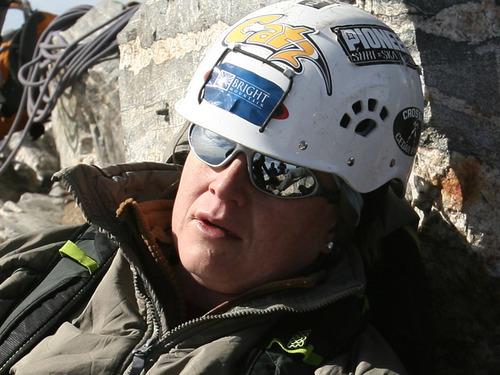 Leah Hogsten     The Salt Lake Tribune veteran Nico Maroulis catches her breath atop the Grand Teton.