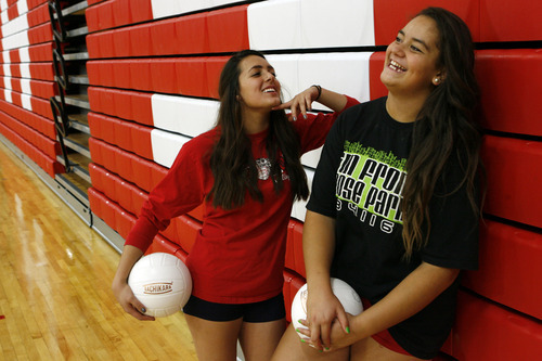 Francisco Kjolseth  |  The Salt Lake Tribune Senior Gui Peláez, left, has taken freshman Kiki Angilau under her wing. Pelaez who has been a bit of a mentor is helping the freshman become a better player. Pelaez also started as a freshman, so she understands the pressure.
