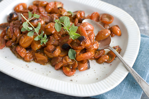 Matthew Mead     The Associated Press Roasted Balsamic Cherry Tomatoes are served on a platter as shown in Concord, N.H.