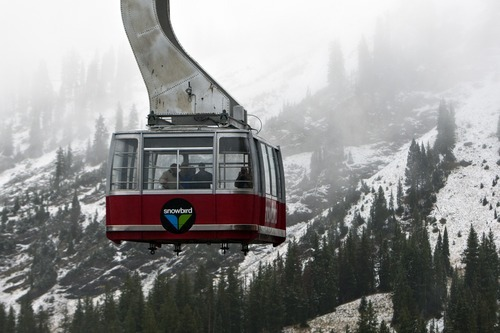 Chris Detrick  |  The Salt Lake Tribune The Red Tram comes down from Hidden Peak at Snowbird Tuesday September 25, 2012. Salt Lake City expected a high temperature of 75 Wednesday, up a few degrees from Tuesday's forecast; Ogden looked for 73 and 70 degrees, respectively; Logan 75 and 71; Provo 72 and 68; Wendover 75 and 74; Duchesne 68 and 65; Cedar City 73 and 72; St. George 86 degrees both days; and Moab, 78 and 76.