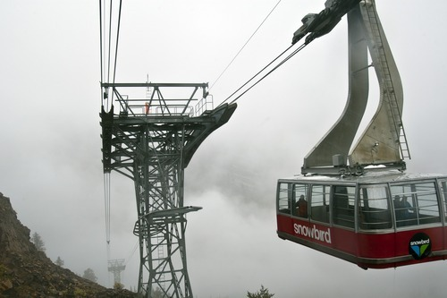 Chris Detrick  |  The Salt Lake Tribune The Red Tram goes towards Hidden Peak at Snowbird Tuesday September 25, 2012. Salt Lake City expected a high temperature of 75 Wednesday, up a few degrees from Tuesday's forecast; Ogden looked for 73 and 70 degrees, respectively; Logan 75 and 71; Provo 72 and 68; Wendover 75 and 74; Duchesne 68 and 65; Cedar City 73 and 72; St. George 86 degrees both days; and Moab, 78 and 76.