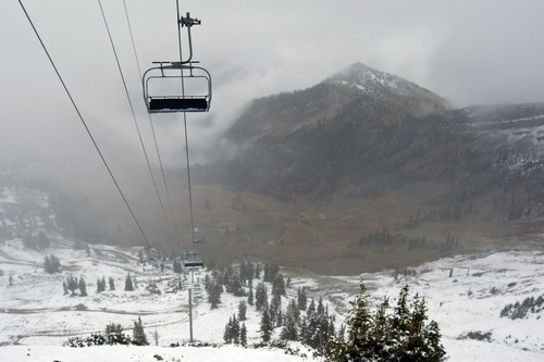 Chris Detrick  |  The Salt Lake Tribune Snow remains on the Mineral Basin Express chairs as seen from Hidden Peak at Snowbird Tuesday September 25, 2012. Salt Lake City expected a high temperature of 75 Wednesday, up a few degrees from Tuesday's forecast; Ogden looked for 73 and 70 degrees, respectively; Logan 75 and 71; Provo 72 and 68; Wendover 75 and 74; Duchesne 68 and 65; Cedar City 73 and 72; St. George 86 degrees both days; and Moab, 78 and 76.