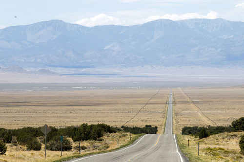 Al Hartmann  |  The Salt Lake Tribune U.S Highway 50 heads west in the dry lands between Delta, Utah, and Baker, Nev. Western Utah has experienced the driest 12 months in history this year despite the monsoonal rain in July and August.  It has affected farmers, ranchers and wildlife.
