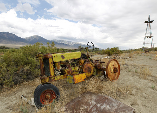 Al Hartmann  | The Salt Lake Tribune Old Tractor stands on a farm near Trout Creek in western Utah ihn Septmeber 2012.  Ranching and farming is a challenge in the best of times.   Western Utah has experienced the driest 12 months in history this year despite the monsoonal rain in July and August.  It has affected farmers, ranchers and wildlife.