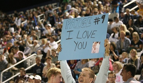 Paul Fraughton | Salt Lake Tribune A BYU soccer fan  holds up a sign. BYU played Utah Valley University at BYU's field.   Thursday, September 27, 2012