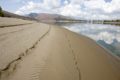 Paul Fraughton | The Salt Lake Tribune The shoreline of Pineview Reservoir near The Anderson Cove Campground shows the state of water storage due to a drier than normal water year.   Wednesday, September 26, 2012