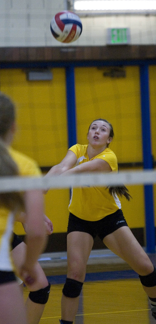 Paul Fraughton | The Salt Lake Tribune Taylorsville High School's Tasia Taylor playing volleyball in a recent match with Kearns High.