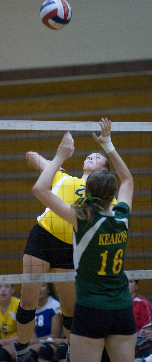 Paul Fraughton | The Salt Lake Tribune Taylorsville High School's Tasia Taylor playing volleyball in a recent match with Kearns High.   Thursday, September 20, 2012