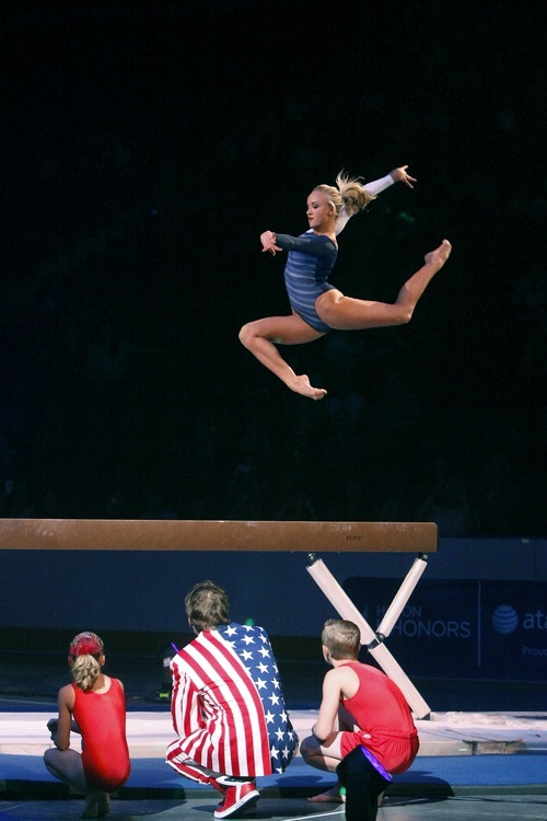 Chris Detrick  |  The Salt Lake Tribune Nastia Liukin performs on the beam during Kellogg's Tour Of Gymnastics Champions at the Maverik Center on Thursday, Sept. 27, 2012. The 40-city tour runs through Nov. 18.