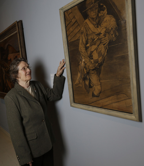 Mary Immen Hall of Bennington, Vt., poses with the 1940 Norman Rockwell illustration