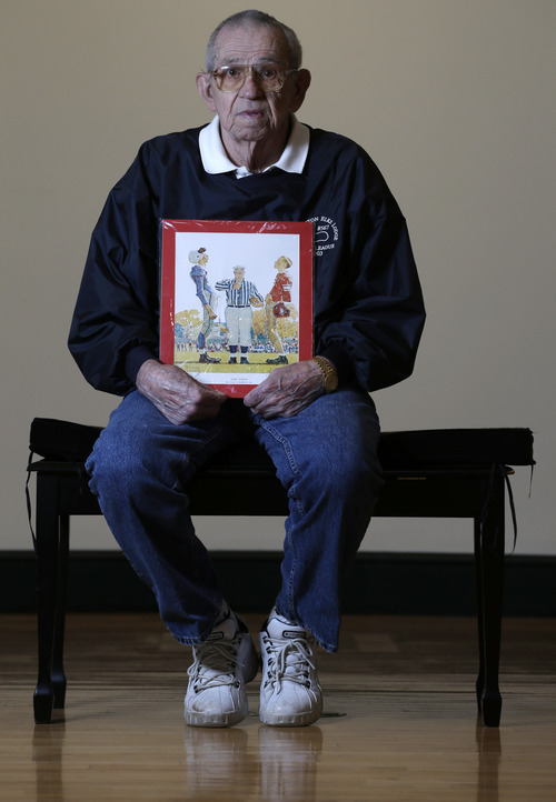 Butch Corbett of Bennington, Vt., poses with a1950 Saturday Evening Post cover illustration