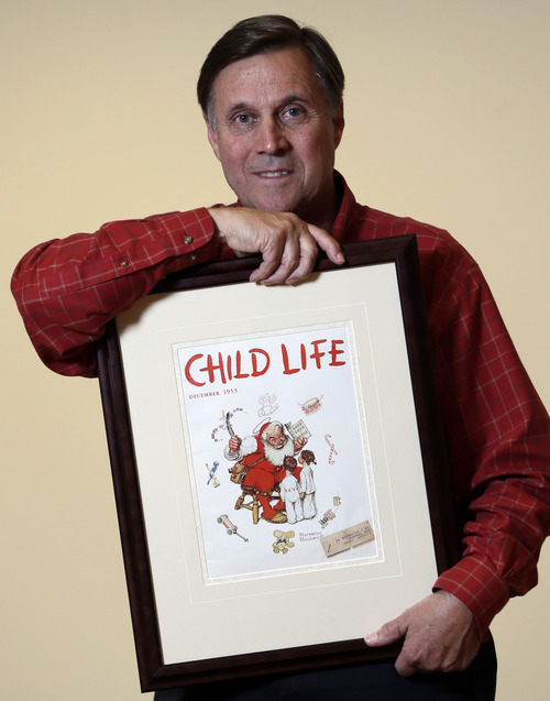 Don Trachte of Bennington, Vt., poses with a1953 Child Life magazine cover illustration
