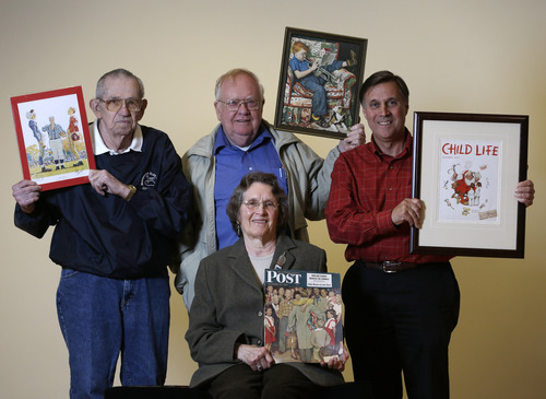 Models who modeled for Norman Rockwell illustrations pose with the pieces in which they were featured at the Bennington Museum on Friday, Sept. 28, 2012, in Bennington, Vt. From left is Butch Corbett, Tom Paquin, Don Trachte and seated is Mary Immen Hall. (AP Photo/Mike Groll)