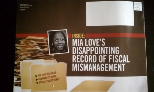 This is a photo of the actual mailer sent by the Democratic Party. The photo is several shades lighter.