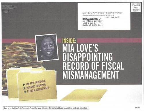 This scan of a mailer sent by the Utah Democratic Party was cited as proof that Democrats had altered the photo of Mia Love to make her skin appear darker than it is.