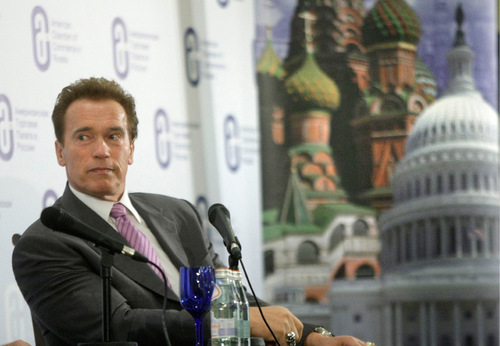 California's Gov. Arnold Schwarzenegger looks on during a meeting with businessmen in Moscow, Russia, Monday, Oct. 11, 2010. Schwarzenegger is leading a delegation of Silicon Valley business leaders and venture capitalists on a trip intended to help connect them with Russian counterparts. (AP Photo/Mikhail Metzel)