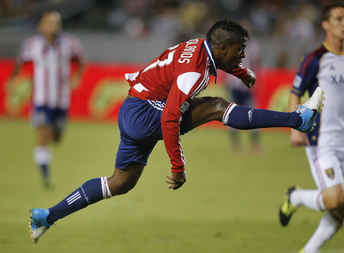 Chivas USA's Miller Bolanos shoots in the first half of an MLS soccer game against Real Salt Lake in Carson, Calif., Saturday, Sept. 29, 2012. (AP Photo/Jae C. Hong)