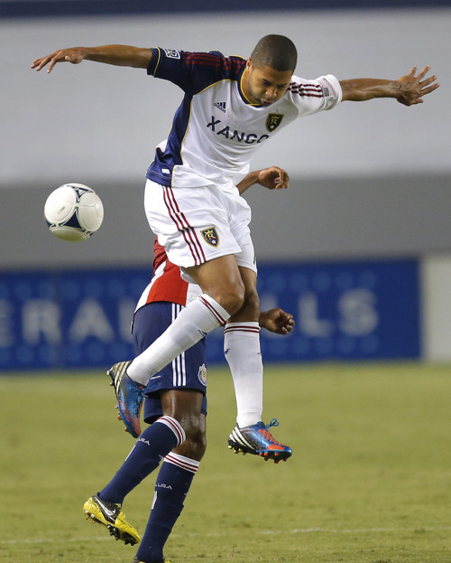 Real Salt Lake's Alvaro Saboru jumps to head the ball in the first half of an MLS soccer game against the Chivas USA in Carson, Calif., Saturday, Sept. 29, 2012. (AP Photo/Jae C. Hong)