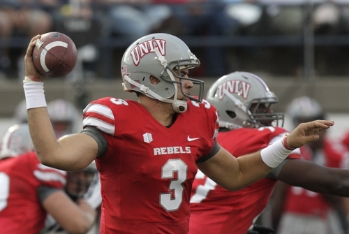 UNLV quarterback Nick Sherry (3) passes the ball in the first quarter of an NCAA college football game withUtah State Saturday, Sept. 29, 2012, in Logan, Utah.  (AP Photo/Rick Bowmer)