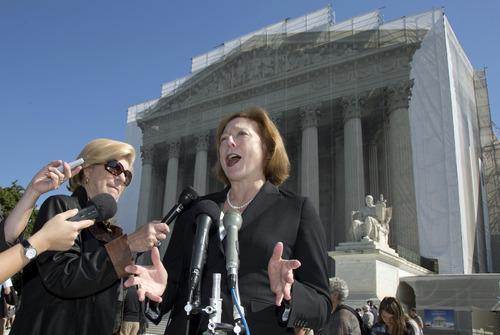 Kathleen Sullivan, Shell's lawyer, in the Kiobel v. Royal Dutch Petroleum case, speaks outside the Supreme Court in Washington, Monday, Oct. 1, 2012. (AP Photo/Carolyn Kaster)