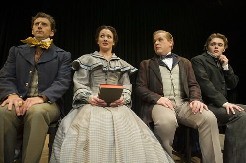 Trent Cox as Sam Ward, Shawnee Johnston as Margaret Fuller, Trevor Dean as Waldo Emerson, and Connor Padilla as Nathaniel Hawthorn/and Count O in Weber State University's production of