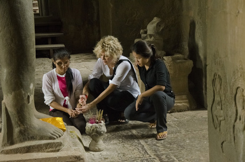 Courtesy photo  Meg Ryan is shown with Somana Long and Srey Pov at Angkor Wat in Siem Reap, Cambodia.