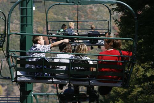 Scott Sommerdorf  |  The Salt Lake Tribune              Fifth graders from Liberty Elementary in Murray took a ride on the ski lift at Sundance Resort, Thursday, September 20, 2012, during their visit to Sundance for a Kids in Nature Program.
