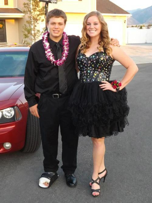 Zoe Johnson and her date weren't allowed into Stansbury High's homecoming dance Saturday because her dress was deemed too short. She was allowed to attend the dance only after going home to put on leggings. Stansbury High's principal apologized to students Monday that the policy wasn't clearer and offered to hold another free dance to make up for homecoming. Courtesy photo