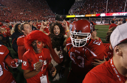 Scott Sommerdorf  |  The Salt Lake Tribune              Utah fans rushed the field after the first time it seemed that Utah had won. They were penalized for being on the field too soon, and BYU got another chance to kick a FG. Utah defeated BYU 24-21, Saturday, September 15, 2012.